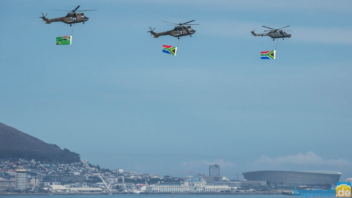 South Africa military demonstration with flags