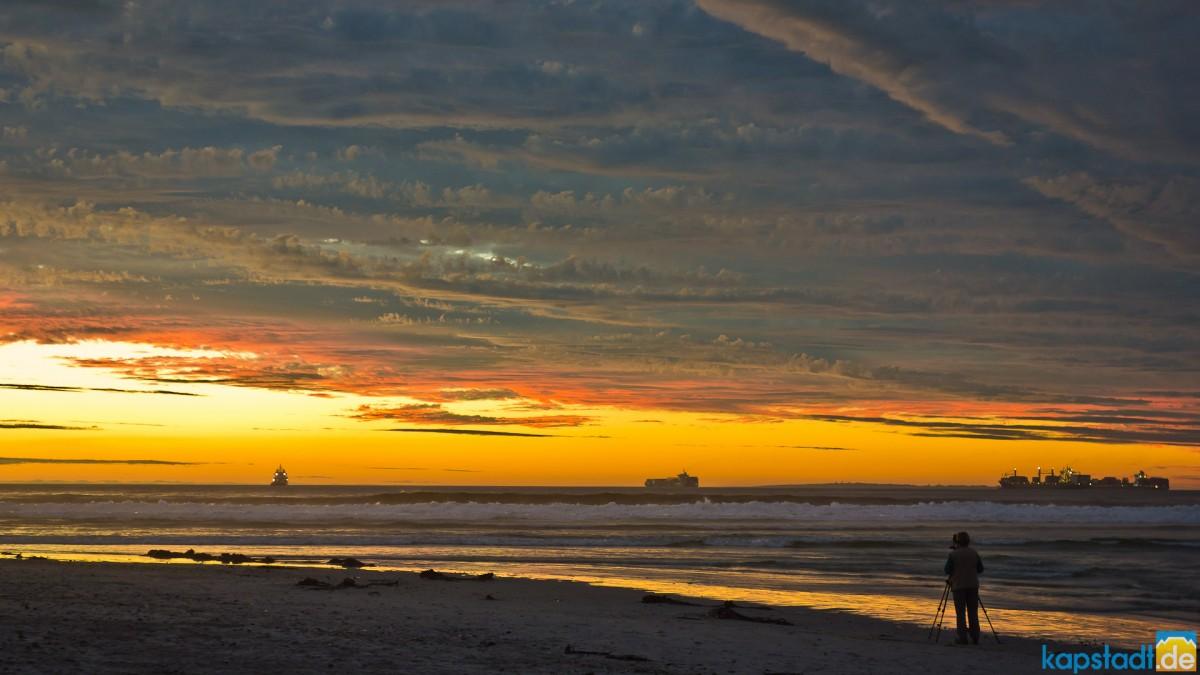 Milnerton Lagoon after sunset with photographer