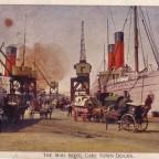 Postkarte Das Postschiff im Hafen 1903