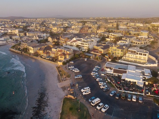Aerial drone image from the Ons Huisie Restaurant at Big Bay / Bloubergstgrand