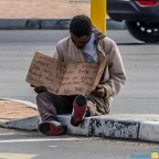 Visiable poverty at the intersection R27 / Loxton Road in Milnerton
