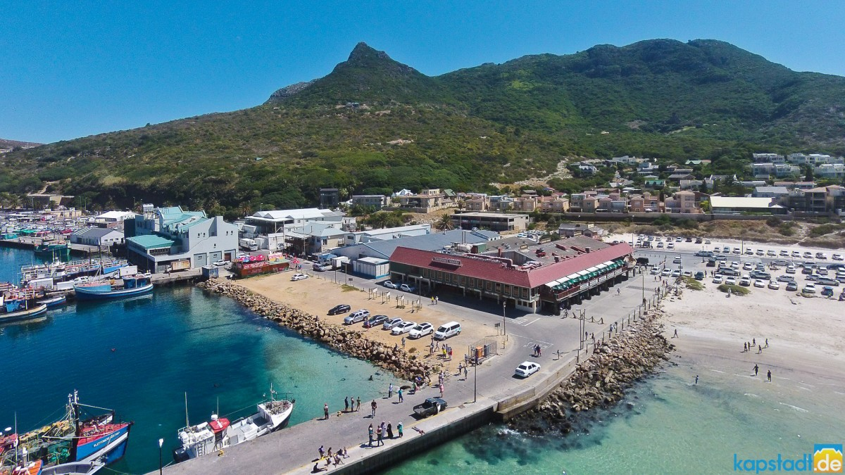 """Aerial drone image of the Hout Bay Harbour and it's seafood restaurant """"Wharfside Grill Restaurant"""""""
