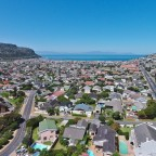 Aerial image from the Villa Honeywood guest house towards the Fish Hoek beach