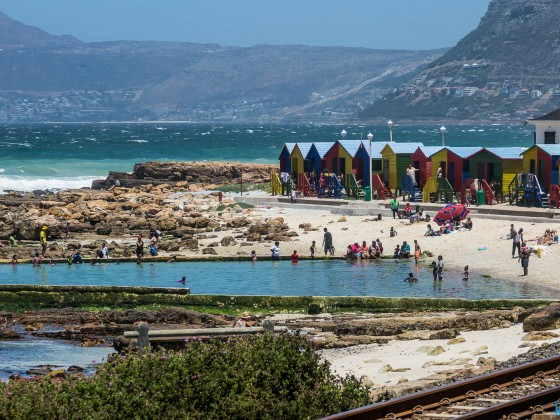 The colorful beach huts of St. James near Kalk Bay
