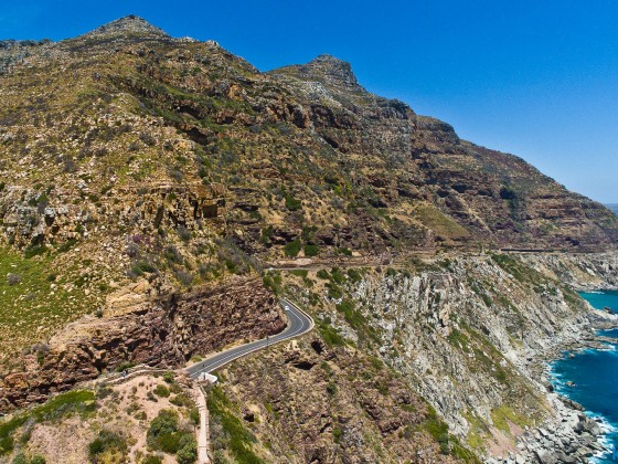 Chapman's Peak view point opposite Hout Bay with a drone