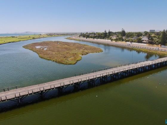 "Drone image taken DJI Phantom: old historic wooden bridge that lead to ""Woodbridge Island"""