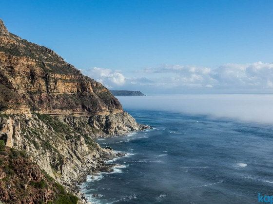 Chapman's Peak Drive looking south from the outlook with mist on the Atlantic