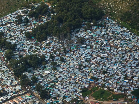 Helicopter flight: Imizamo Yethu township in Hout Bay