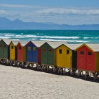 Muizenberg beach and its colorfull dressing huts