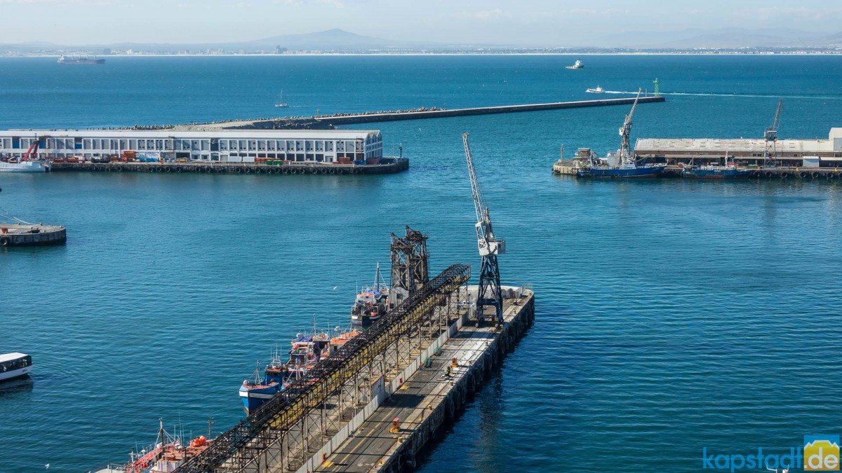 """Commercial harbour at the V&A Waterfront seen from the top floor of the """"Silo Hotel"""""""