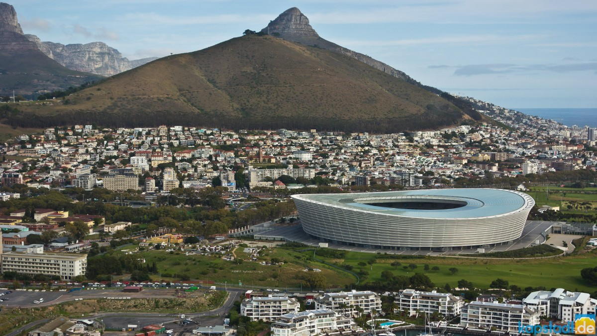 Helicopter flight: 2010 soccer stadium and Lion's Head