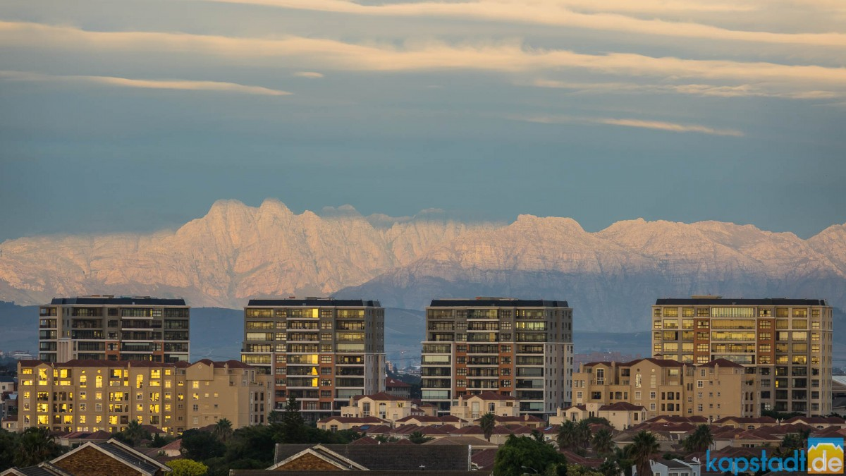 Residential building in Century City with the Helderberg Mountains