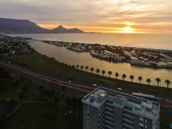 Aerial drone image from Milnerton with Woodbridge Island in the evening