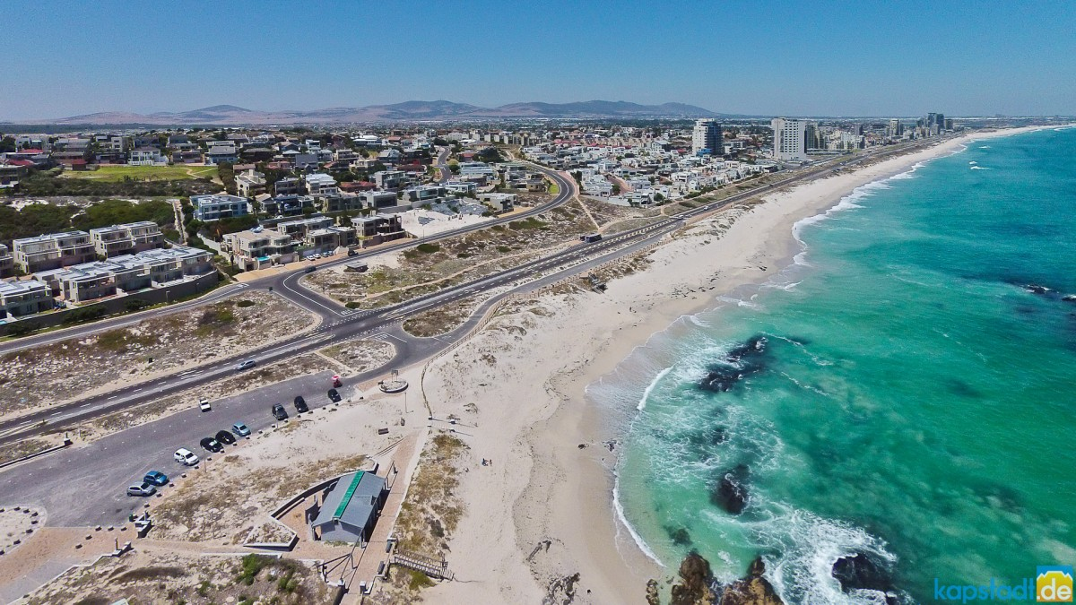 Aerial drone image of Beach Boulevard of Bloubergstrand and Table View