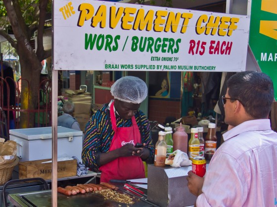 """Wors and borger """"Pavement Chef"""" in Church Street (near Greenmarket)"""