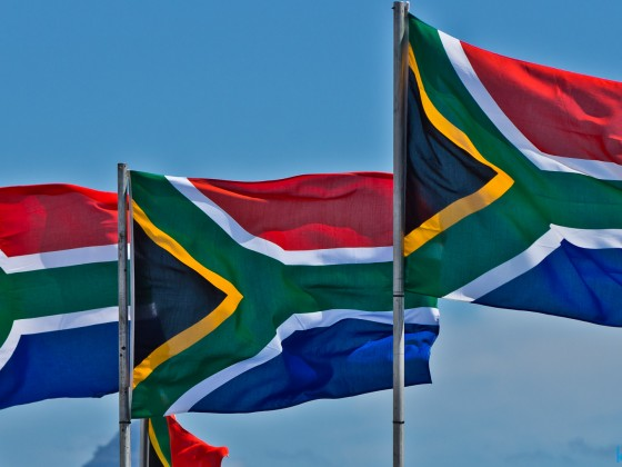 South African flags at a kitesurfing festival
