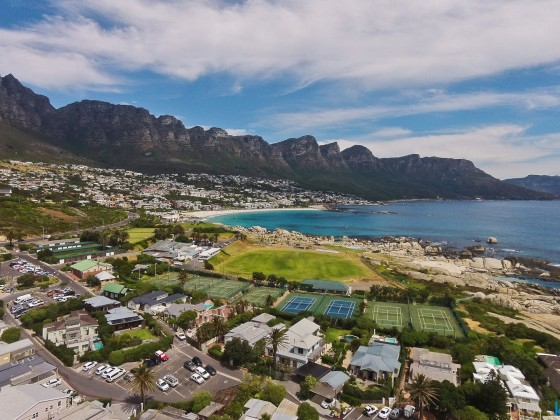 Aerial drone image from Clifton towards Camps Bay with the Twelve Apostels