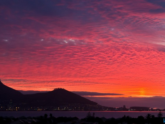 Sunset with Lions Head, Signal Hill and Sea Point