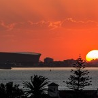 Sunset over Sea Point with the stadium