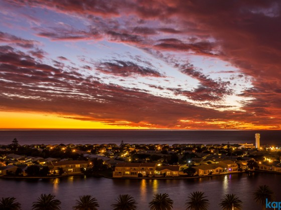 Woodbridge Island in the evening after sunset seen from Milnerton