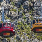 On top of Table Mountain: cable cars meeting