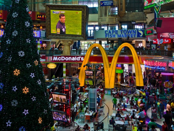 Foodcourt at Canal Walk Mall during xmas time