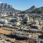 "Table Mountain, Lions Head and Signal Hill seen from the top floor of the ""Silo Hotel"""