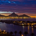 Table Mountain after sunset seen from Milnerton
