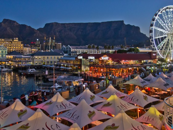 V&A Waterfront with Table Mountain in the evening