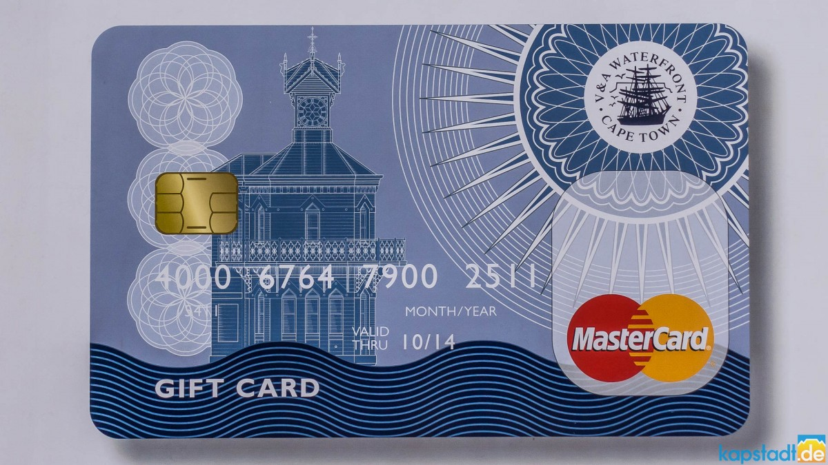 Gift card of the V&A Waterfront in Cape Town