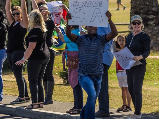 "Nationwide ""Zuma must fall protest"" in Milnerton opposite Woodbridge Island on the 7. April 2017"