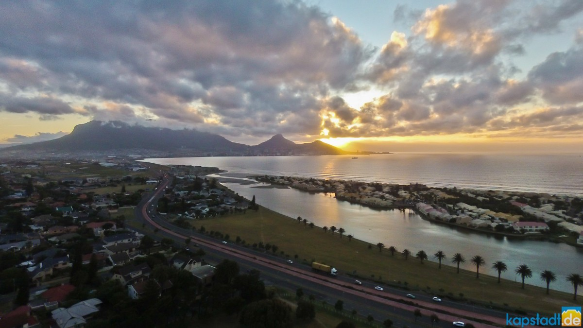 Aerial image from Milnerton in the evening towards Table Mountain