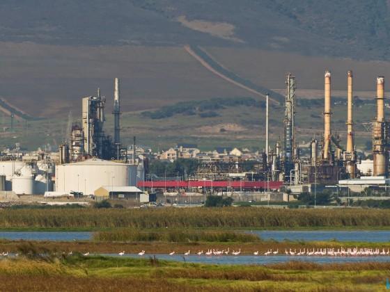 Chevron refinery in Milnerton with Flamingo Vlei