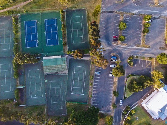 Aerial image of the tennis courts of the Milnerton Tennis Club