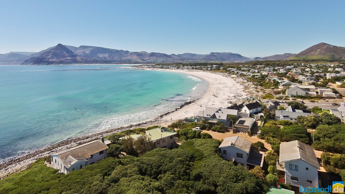 Aerial drone image of the beach of Kommetjie