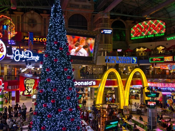 Foodcourt at Canal Walk Shopping Mall in the evening