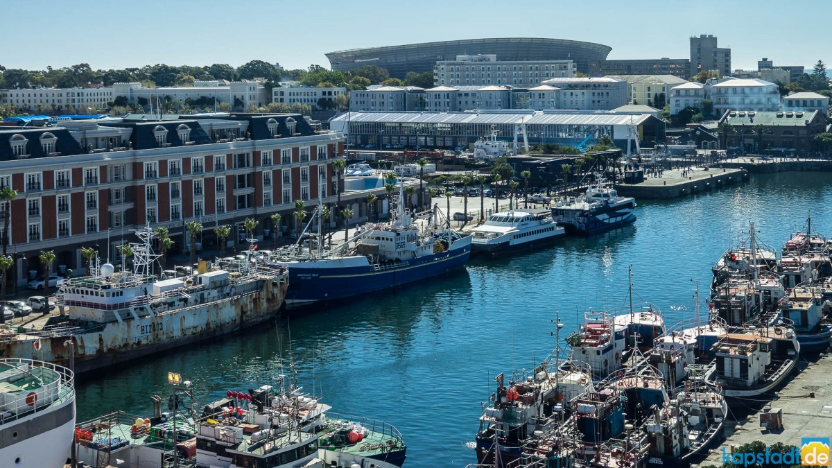 Views from the top deck at the Radisson RED Hotel at the V&A Waterfront