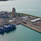 Helicopter flight: Waterfront commercial harbour