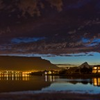 Milnerton Lagoon with Table Mountain after sunset