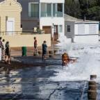 High waves during high tide near Blue Peter