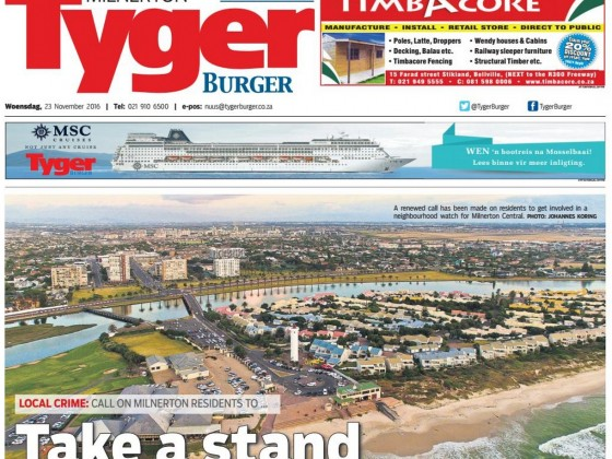 Frontimage on the Tygerburger newspaper by Johannes Koring