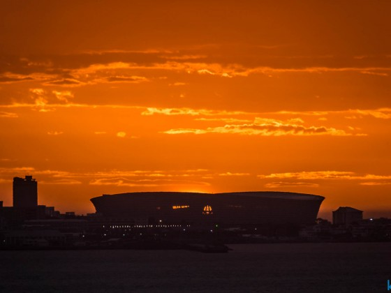 Sea Point soccer stadium during sunset seen from Milnerton