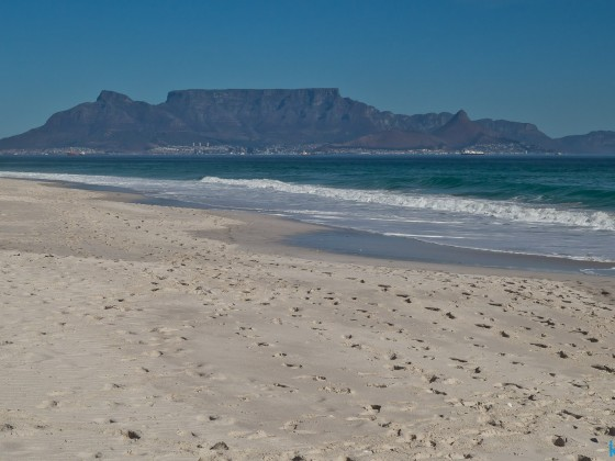 Table Mountain seen from the beach of Table View