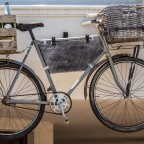 Snapshot of a bicycle mounted on the wall in Franschhoek