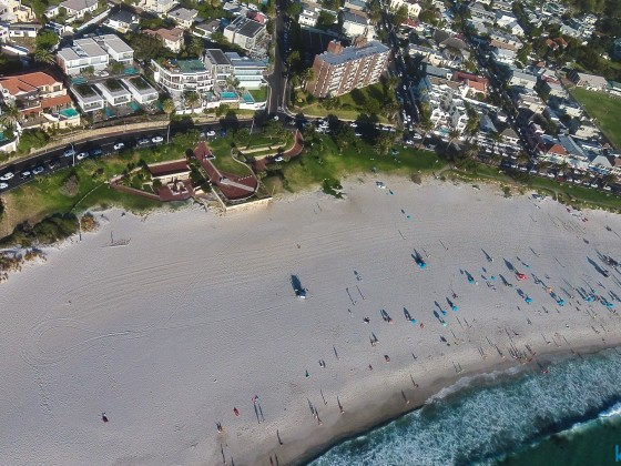 Aerial drone image of Camps Bay beach