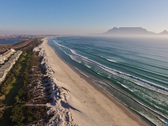 Aerial drone image of endless the Dolphin Beach in Table View