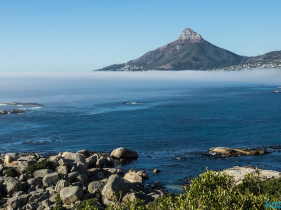 Misty view of Lion's Head with Camps Bay from the Twelve Apostels Hotel