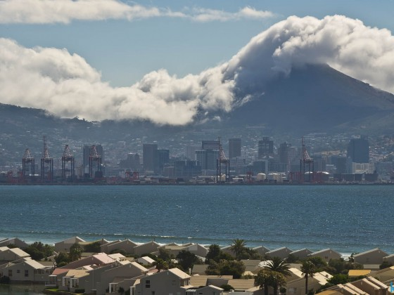 South Easter cloud on Lion's Head with the Cape Town City Bowl