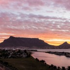 Table Mountain in the evening during sunset seen from Milnerton