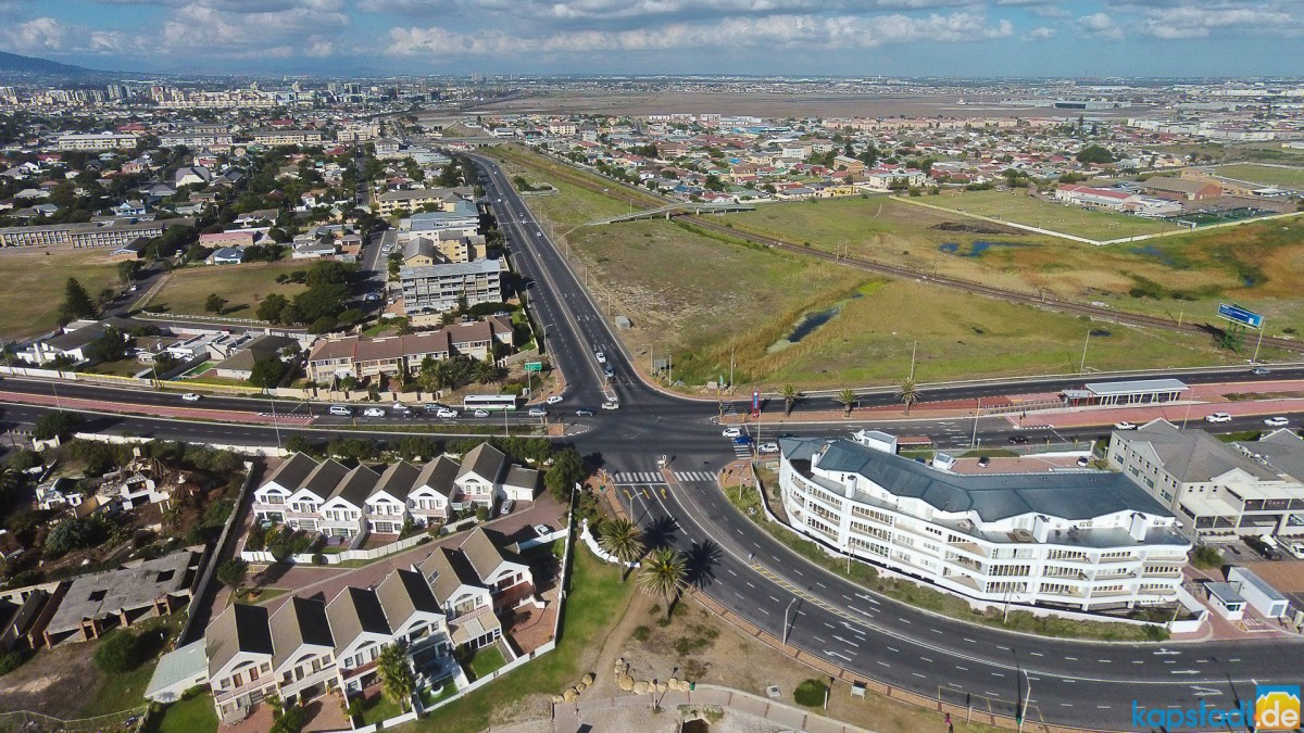Aerial drone images of Boundary Road and the R27 at the Lagoon Beach Complex